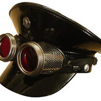 Steampunk Military style PVC hat with handmade mesh goggles red lens