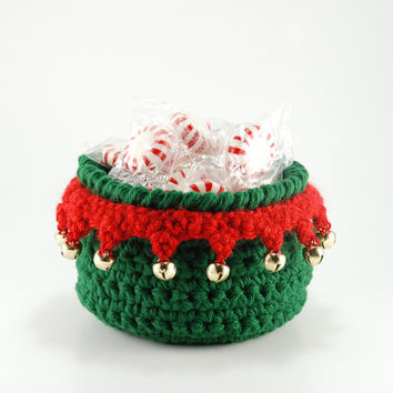 Elf on the shelf inspired bowl, Christmas elf decoration, green crochet bowl, jingle bells, Christmas party favors, hostess gift