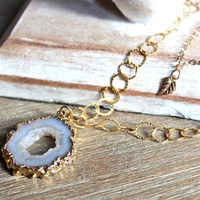 Double Chain Geode and Leaf Pendant by PlumBucketStudio on Etsy