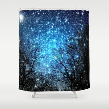 Black Trees Blue SPACE Shower Curtain by 2sweet4words Designs