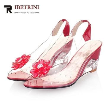 DoraTasia 2016 New Arrival Bohemia Flower Summer Peep Toe Jelly Shoes Crystal Wedges H