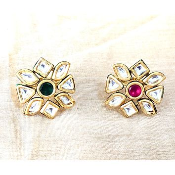 Geometric design Kundan stone Traditional adjustable Finger ring
