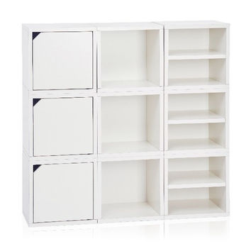 """Way Basics Connect System Stackable and Cubby Organizer 40"""" Cube Unit Bookcase"""