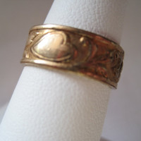Antique Gold Wedding Band - C&C Clark and Coombs - 14kt RGP Gold Heart Band