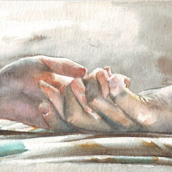 HM048 Original art watercolor painting Holding Hands by Helga McLeod