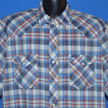 80s Wrangler White Blue Red Plaid Pearl Snap Shirt Extra Large