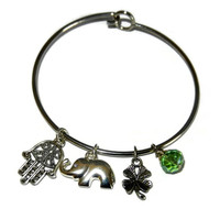 Good Luck Charm Bangle, Elephant, Clover, Hamsa Charm