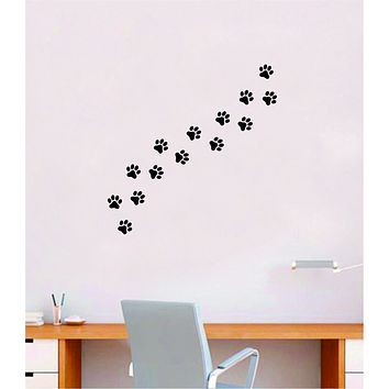 Dog Paw Prints Quote Wall Decal Sticker Bedroom Home Room Art Vinyl Inspirational Decor Cute Animals Puppy Pet Vet Rescue Adopt Foster Girls
