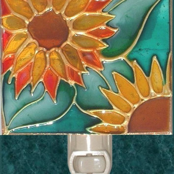 Sunflower Night Light Hand Painted Sun Flower Kitchen Garden Decor and Stained Glass Wall Art Harvest Gold and Green Decorative Nightlight