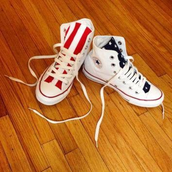 7114cbf8a235 CREYUG7 Reconstructed High Top Converse with Custom American Fla