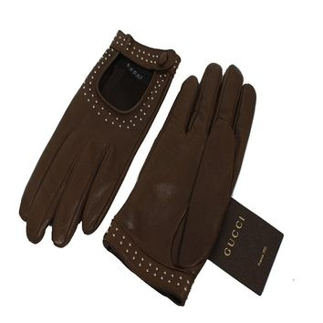 Gucci Classic Women's Studded Brown Leather Riding Gloves One Size 370649