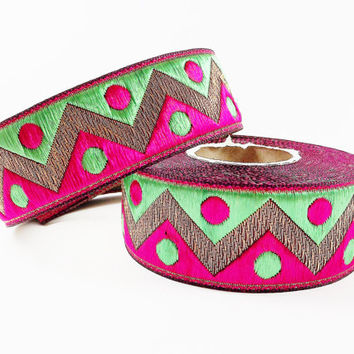 Lime Green Hot Pink Zig Zag Dott Motif Woven Embroidered Jacquard Trim Ribbon - 1 Meter  or 3.3 Feet or 1.09 Yards