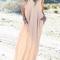 Deep V Neck Solid Maxi Dress Without Necklace Bracelet - Bellelily