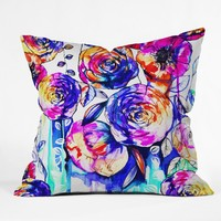 Holly Sharpe Sunrise Flowers Outdoor Throw Pillow