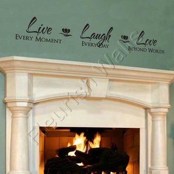 Live Laugh Love Quote - Vinyl Wall Decal Quote Lettering Decor - Living Room Family Room Foyer or Bedroom Wall Art 6H x 36W LI005
