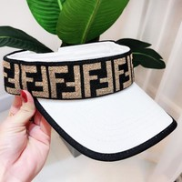 Fendi Fashion New More Letter Hollow Sunscreen Women Men Travel Leisure Cap Hat White