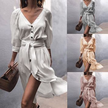 2018 autumn and winter models V-neck straps in the sleeves dress women's clothing