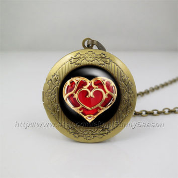 legend of zelda Locket necklace,zelda heart container Photo locket necklace,life Zelda heart container photo locket,Red