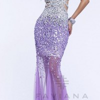 Strapless Ombre Beaded Mermaid Evening Dresses by Faviana