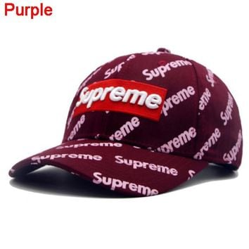 Supreme Fashion New Embroidery Letter More Letter Print Women Men Cap Hat Purple