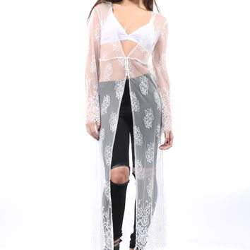 Leaving Behind You All over Lace Kimono