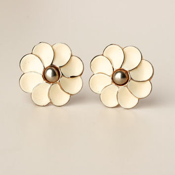 Vintage Barclay Off-White Enamel Gold Tone Flower Earrings