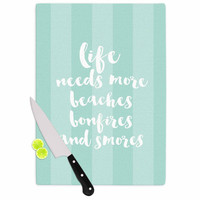 "Sylvia Cook ""Beaches & Bonfires - Mint"" Green Typography Cutting Board"