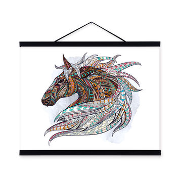 Modern Ancient African National Totem Animals Horse Head A4 Framed Canvas Painting Wall Art Prints Picture Poster Bar Decoration
