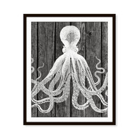 Octopus Print Faux Wood 'Look' Rustic Art Beach Nautical Beach Decor Sea Ocean Print 5x7, 8X10, 11x14 Home Decor Wall Decor Nautical