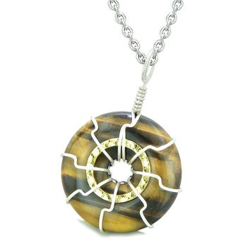Positive Energy Sun Eternity Circle Gold-Silver-Tone Tiger Eye Donut Amulet 22 Inch Necklace