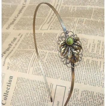 Steampunk Leaf Headband Vintage Style Original by sallydesign