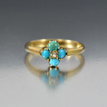 Antique Turquoise Diamond Victorian Engagement Ring