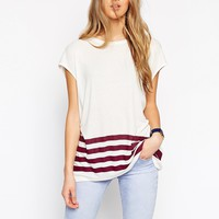 ASOS Tunic Top In Slouchy Rib With Stripe Hem