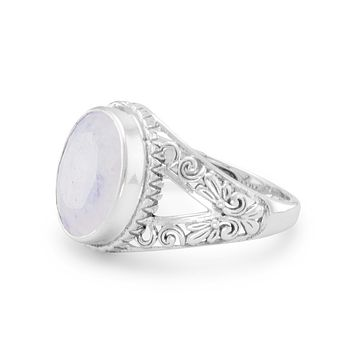 Sterling Silver Ornate 12mm Oval Rainbow Moonstone Ring