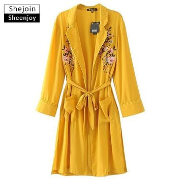 ShejoinSheenjoy Fashion Women Lapel Long Sleeve Wide-waisted Pocket Floral Embroidery Long Trench Coat With Belt Female Overcoat