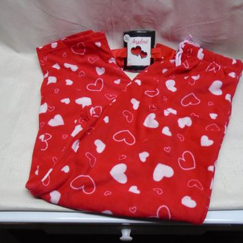 Angelina Women's Heart Valentine's Day Fleece Lounge Pajama Pants Size 2XL