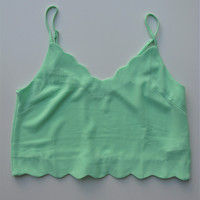 Lush Mint Green Scallop Edge Cropped Camisole S