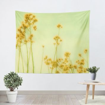 Abstract Yellow Flowers Tapestry