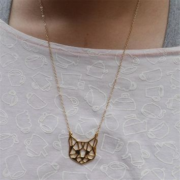 Myelo Simple Fashion Cute Animals Pendants Collar Necklaces Bracelets Lovely Little Hollow Small Cat For Female Kolye Jewelry