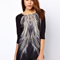 Black Peacock Tail Print Half Sleeve Blouse