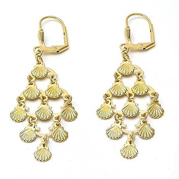 Gold Layered 02.63.2196 Chandelier Earring, Diamond Cutting Finish, Golden Tone