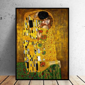 Gustav Klimt Kiss Paintings On The Wall Canvas Posters Print Classical Famous Art for Living Room Home Decor Unframed