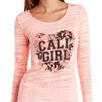 Bow-Back Cali Girl Graphic Long Sleeve Top - Neon Coral