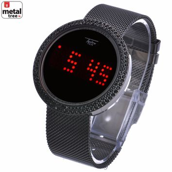 Jewelry Kay style Men's Techno Pave Digital Iced Out Touch Screen Mesh Metal Band Watch WM 8246 HE
