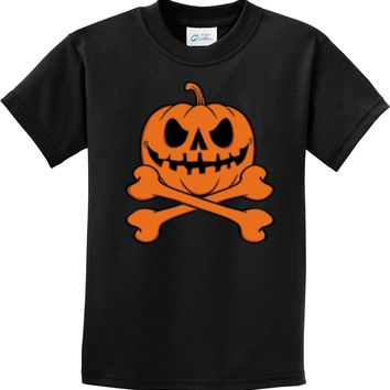 Halloween Pumpkin Skeleton Kids T-shirt
