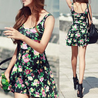 Black A-Line Floral Mini Dress