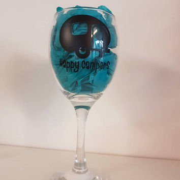 Happy campers wine glass gin and tonic rum and coke this is your glass