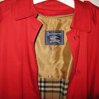 Burberry Trench Coat Women, Vintage Red Rain Coat Jacket Plaid Lining, Size 10 XX Long