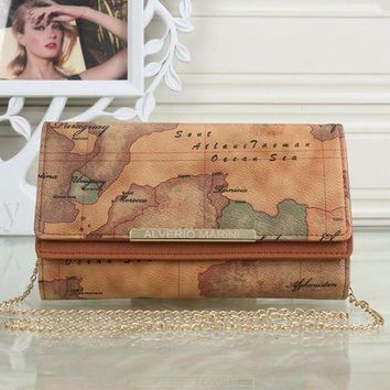 VLXZGW7 Louis Vuitton' Retro Fashion Map Wallet Metal Chain Single Shoulder Messenger Bag Women Double Layer Flip Clutch Purse