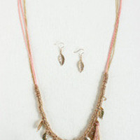 Gilded Feathers Tassel Necklace